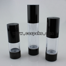 ZA27A-15ml 30ml 50ml Cosmetic Pump Bottle with black base